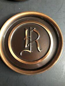 "Vintage Hyde Park Copper Coasters, Letter ""R"", Set Of 8"