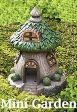 Fairy Garden-Brown House with Green Leaf Roof