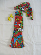 Vintage 1970s Mego Cher Montgomery Ward Exclusive Red Oriental Print Outfit