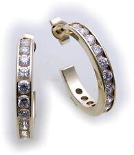 Ladies Hoop Earrings real gold 333 Zirconia Yellow gold solid