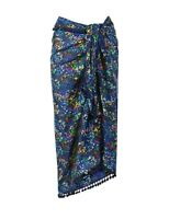 M&S Beach Holiday Sarong Wrap Cover Up Pom Pom Edged - Blue Mix - One Size