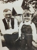 Vintage Photograph 1930's Black White Little Boy Overalls Old Man 23738