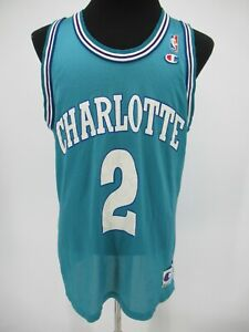 L9216 VTG Champion Charlotte Hornets 2 Basketball-NBA Jersey Made in USA 44
