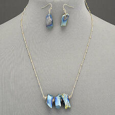 Gold Chain Blue Stone Bohemian Style Trendy Necklace With Earrings