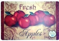 SET of 4 Kitchen Vinyl / Foam Back Placemats, FRESH RED APPLES by BH