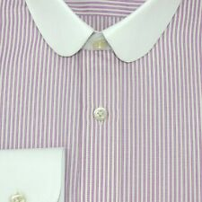 Club collar Bankers shirt Pink stripes Gent White collar Easy to Iron Mens Penny