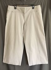 EILEEN FISHER BEIGE KHAKI TAUPE COTTON CREPE KNIT EXTRA WIDE LEG PANTS SZ L