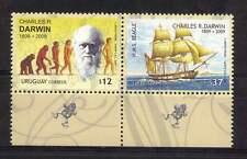 Darwin Naturalist Ship Beagle boat  hill lighthouse ape frog URUGUAY #2268 MNH