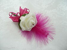 Artificial Flower Ivory & Hot Pink  buttonhole corsage wedding flower. PIN ON A