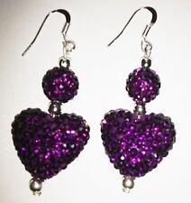 Shamballa púrpura oscuro corazón Aros Colgantes Con Cristal Austriaco Disco bead-uk