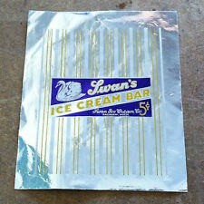 10 Vintage Original SWAN'S ICE CREAM BAR Wrappers Metallic 1950s NOS Used Stock