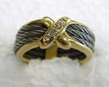 designer 18kt yellow gold and stainless steel diamond ring