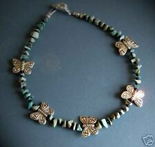 Turquoise & Black bead Anklet with Butterflies