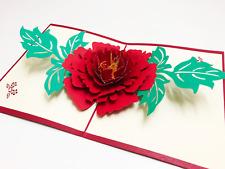 Handmade 3D Pop Up Rose Flower Red Anime Anniversary Valentine Female Card #5K