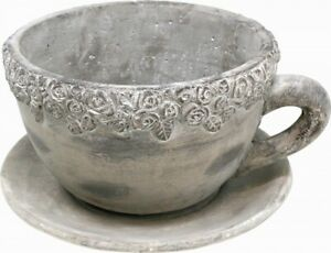 Pflanztopf Tasse groß, Zement, grau, 27 cm massiv Blumentopf Teetasse Steintopf