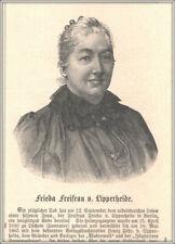 """Frieda Freifrau v.Lipperheide""Schriftstellerin Verlegerin.Orig.Holzstich v.1896"