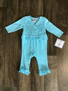 Three Sisters Turquoise Ruffle Romper Sz 24 Months