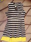 Chic Taste Black & White Stripped Knee Length Sleeveless Dress Size 3XL