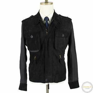 CURRENT Brioni Black Linen Body Suede Leather Panel Epaulet Blouson Jacket 40US