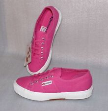 SUPERGA 2750 COTU CLASSIC Canvas Schuhe Freizeit Sneaker Gr 36 UK 3,5 Pink Weiß