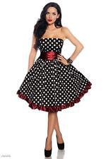L 10 40 ROCKABILLY RETRO BLACK WHITE POLKA DOTS BURGUNDY RED STRAPLESS DRESS