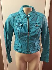 Bebe ~ Beautiful Sexy BLUE Faux Leather Moto Bomber Style Jacket  ~ Small ~ NWT