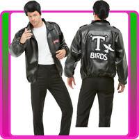 Mens T-Birds Gang Jacket 1950 50s Black Grease T-Bird Danny T bird Tbird Costume
