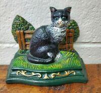 Vintage Cast Iron Green Eyes Sitting Black & White Cat Painted Vintage Doorstop