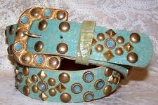 Aqua and Brass Leatherock AB Belt Made with Pacific Opal Swarovski Crystals M  L