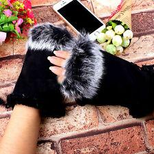1Pair Black Women Fur Suede Soft Fingerless Gloves Winter Warm Mittens Gift