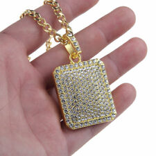 "Men's Hip Hop Gold Plated Crystal Pave Square Bling Pendant 27.5"" Chain Necklace"