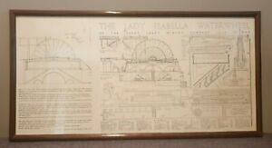 Framed Schematic of the Lady Isabella Waterwheel (Blueprint Isle of Man Mining)