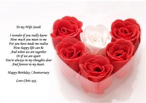 PERSONALISED POEM TO WIFE AND PARTNER  FOR BIRTHDAY OR ANNIVERSARY