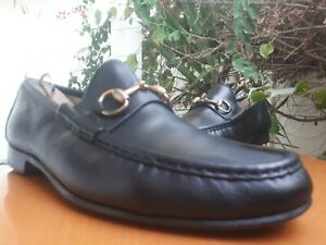 Gucci Men's Black Leather Gold Horsebit Loafers Size US 9.5 D || 015936