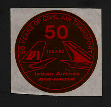 """OPC 1982 Air India 50th Anniversary 3"""" Gold Foil Label"""
