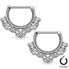 Pair of Nipple Piercing Shields 14ga Tribal Hearts Filigree 316L Surgical Steel
