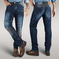 Men's new motorbike motorcycle branded slim fit stretch jeans protective trouser