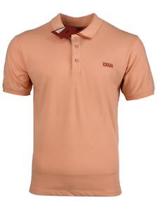 Hugo Boss Men's Salmon Pink w/Red Polo Shirt Dyler Reverse Logo Cotton