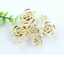 5 X 12.5MM TRANSPARENT ACRYLIC ROSE FLOWER GOLD EDGE  SEW ON SHANK BUTTONS