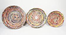 Set of 3 Decorative Multicolored Paper Bowls    1 large,1 medium, 1 small