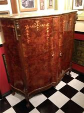 Antique Walnut Marquetry Inlay Armoire Bar Louis 16th