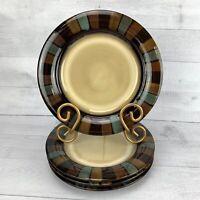 Pfaltzgraff CAYMAN Brown Blue Tan Block Rim  Stoneware Salad Plates Set of 4