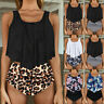 Women Two Pieces High Waisted Ruffled Tummy Bikini Set Tankini Swimsuit Bathing