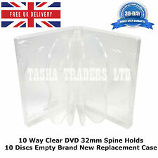 50 x 10 Way Clear DVD 32mm Spine Holds 10 Discs Empty Brand New Replacement Case