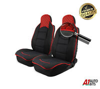 Red Black Luxury Leatherette & Fabric Car Seat Covers For Renault Clio Megane