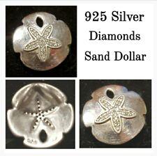 "22 Diamonds 1/2"" Sand Dollar Pendant Unique signed 22 Diamonds 925 Silver"