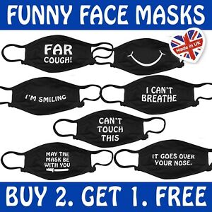 Funny Face Mask Covering Washable Reusable Adult-Unisex UK BUY 2 GET 1 FREE