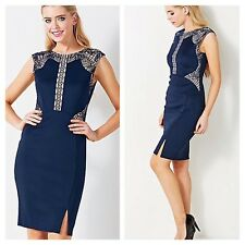 Lipsy Size 8 Navy Bodycon Cut Out DRESS Nude Mesh Embroidery Evening Party New