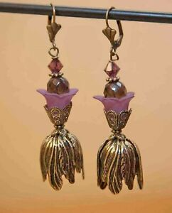"Tulip Flower Earrings Antique Brass Crystal Lucite Flower - ""Antiquity"""