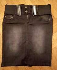 Jeans Rock Amnesia Fashion knielang inkl Gürtel Stretch! schwarz Grösse 36 W29